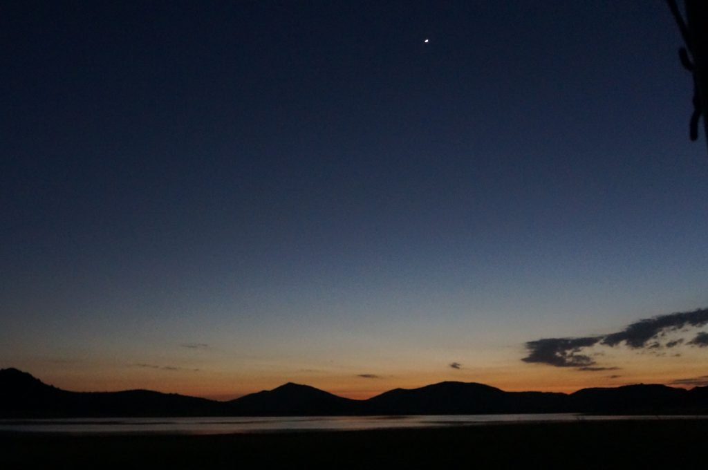 Pilanesberg: Venus as Morning Star above Lake Mankwe